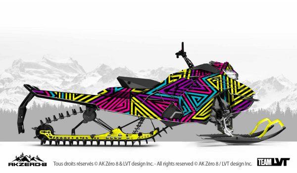 Kit graphique pour motoneige Ski-Doo - Design de multi-couleurs flash