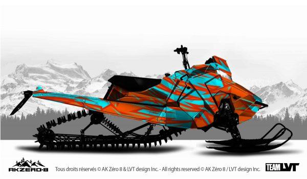 Kit graphique pour motoneige Polaris - Design de couleur orange et bleu